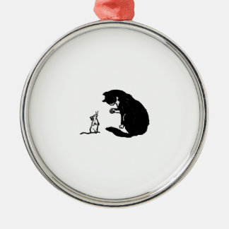 Cat and Mouse Christmas Metal Ornament