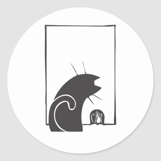Cat and Mouse Classic Round Sticker