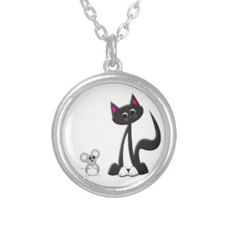 Cat and Mouse Design Round Pendant Necklace