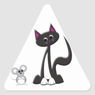 Cat and Mouse Design Triangle Sticker