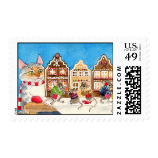 Cat and Mouse Gingerbread village shopping postage
