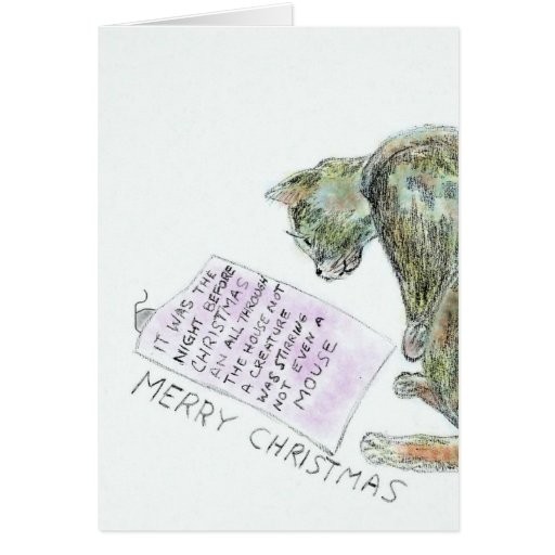 Cat and Mouse Holiday Greeting Card