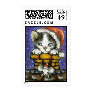 Cat and mouse in Santa's hats Postage Stamps
