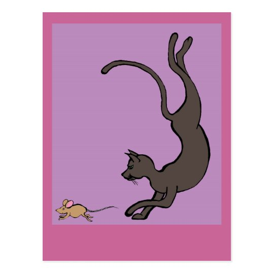 cat and mouse postcard