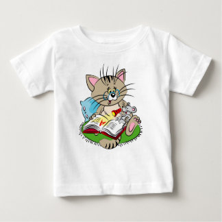 Cat and mouse reading a book together baby T-Shirt
