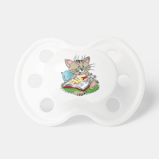 Cat and mouse reading a book together pacifier