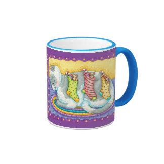 Cat and Mouse Stockings Christmas Mug