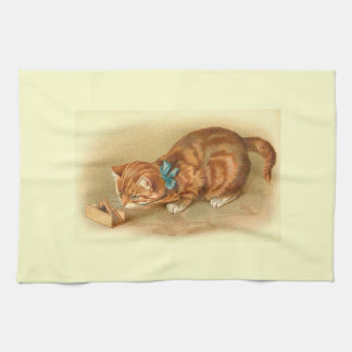 Cat and Mouse Vintage Illustration Towels