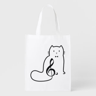 CAT AND MUSIC NOTE GROCERY BAG