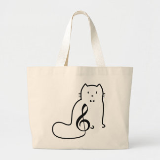 CAT AND MUSIC NOTE LARGE TOTE BAG