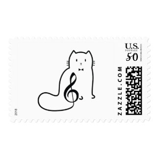CAT AND MUSIC NOTE POSTAGE
