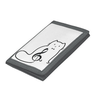 CAT AND MUSIC NOTE TRIFOLD WALLETS
