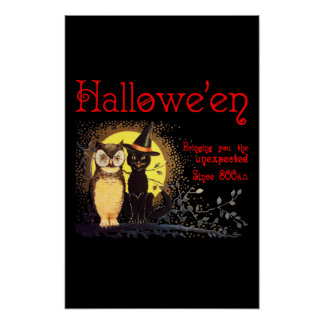 Cat and Owl in Vintage Halloween  Poster