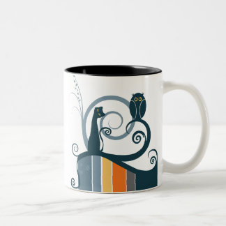 Cat and Owl Two-Tone Coffee Mug