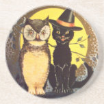 Cat and Owl Vintage Halloween Coaster