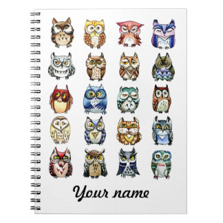 Cat  and Owls Spiral Notebook