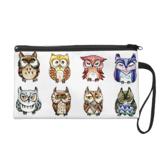 Cat and owls wristlet purse