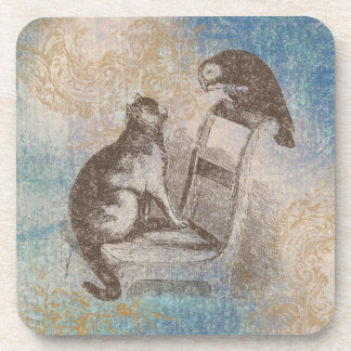 Cat and Parrot Vintage Style Blue, Brown and Gold Beverage Coaster