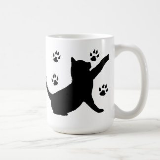 Cat and Paw Prints in Silhouette Classic White Coffee Mug