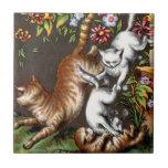 Cat and Playful KittensTile Tile