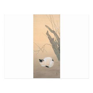 Cat and Plum Blossoms by Hishida Shunso Postcard