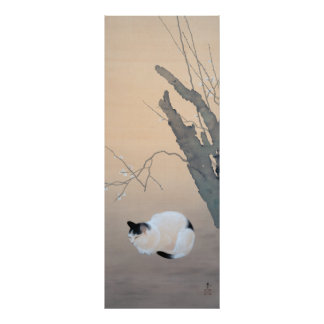 Cat and Plum Blossoms Poster