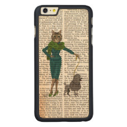Carved iPhone 6 Plus Slim Wood Case with Poodle Phone Cases design