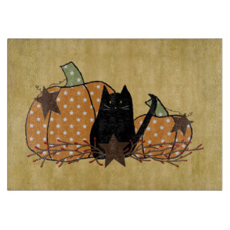 Cat And Pumpkins Glass Cutting Board