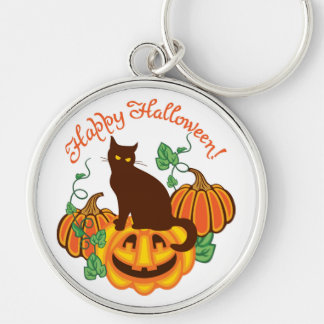 Cat and pumpkins keychain