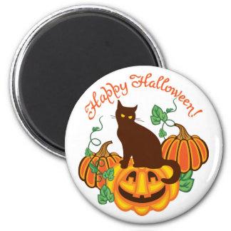 Cat and pumpkins magnet