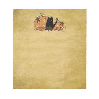 Cat And Pumpkins Notepad