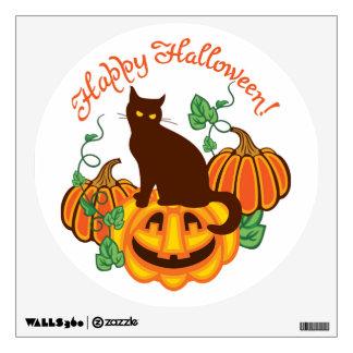 Cat and pumpkins wall sticker