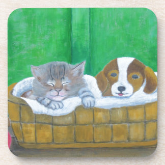 cat and puppy drink coaster