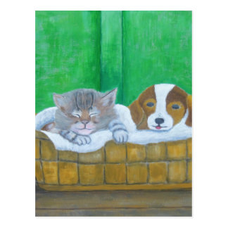 cat and puppy postcard