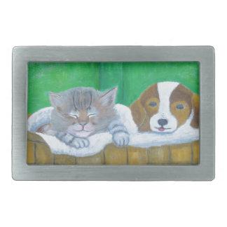cat and puppy rectangular belt buckle