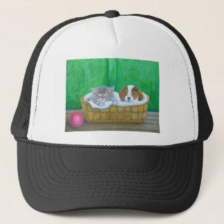cat and puppy trucker hat