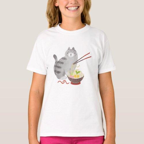 Cat and Ramen cawaii cat T_Shirt