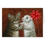 Cat and Rat Dancing Christmas Card