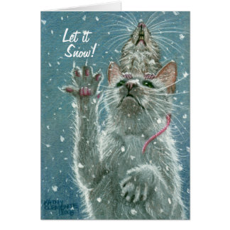 Cat and Rat Greeting Card, Let it Snow! Card