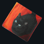 """Cat and Red Sky Bandana<br><div class=""""desc"""">Cute pets,  cats. Magical black cat with blue eyes and deep red sky with clouds.</div>"""