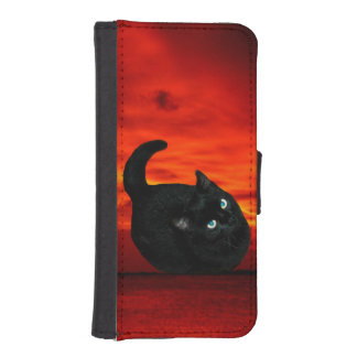Cat and Red Sky iPhone SE/5/5s Wallet Case