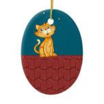 Cat and roof ceramic ornament