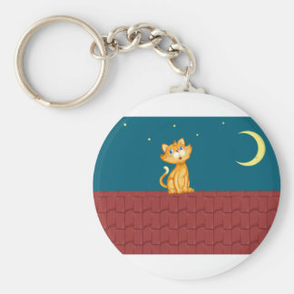 Cat and roof keychain