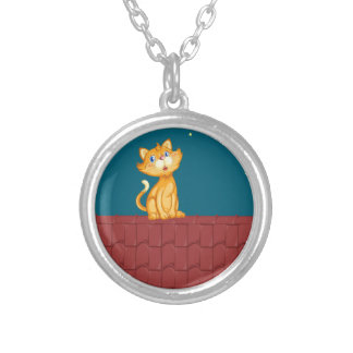 Cat and roof round pendant necklace