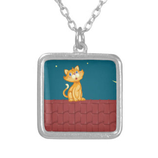 Cat and roof square pendant necklace