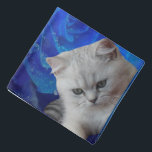 """Cat and Rose Bandana<br><div class=""""desc"""">Cute pets. British grey cat and blue rose with drops of rain.</div>"""