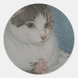 Cat and Rose round sticker