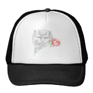 cat and rose trucker hat