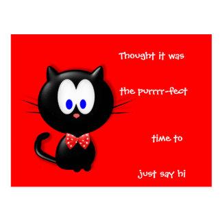 Cat and salutation postcard