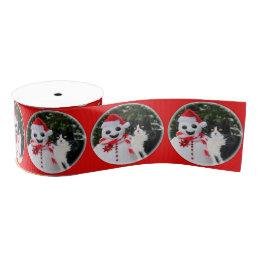 Cat and Santa Snowman Christmas Funny Pet Photo - Grosgrain Ribbon